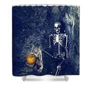 Skeleton With Jack O Lantern Shower Curtain
