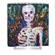 Skeleton With One Arm Shower Curtain