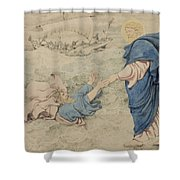 Sketch Of Christ Walking On Water Shower Curtain by Richard Dadd