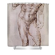 Sketch Of David With His Sling Shower Curtain by Michelangelo Buonarroti