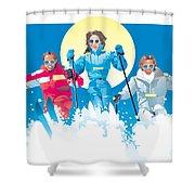 Ski Fun Art Shower Curtain