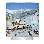 Ski Whizzz Shower Curtain by Judy Joel