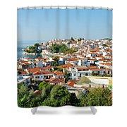 Skiathos Harbour In Greece Shower Curtain