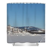 Skidoo Track On Frozen Lake Shower Curtain