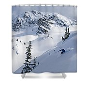 Skier Shredding Powder Below Nak Peak Shower Curtain