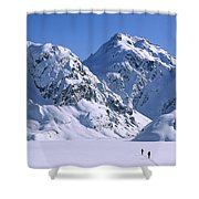 Skiers Cross Frozen Lake Harris Shower Curtain