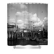 Skiffs At  Montereys Fisherman's Wharf California Circa 1945 Shower Curtain