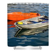 Skiffs At The Harbour Shower Curtain