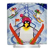 Skiing Holiday Shower Curtain