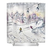 Skiing In The Dolomites In Italy 01 Shower Curtain