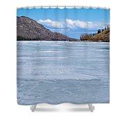 Skiing On Frozen Lake Laberge Yukon Canada Shower Curtain