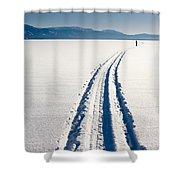 Skiing Person On Frozen Lake Shower Curtain