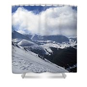 Skiing With A View Shower Curtain by Fiona Kennard