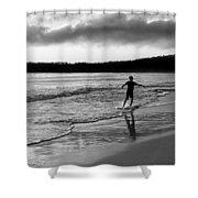 Skimboarder Sunser #1 - Black And White Shower Curtain