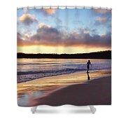Skimboarder Sunset #2 Shower Curtain