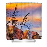 Skinny Trees Windy Day Shower Curtain