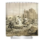 Skirmish Of Persians And Kurds Shower Curtain