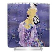 Skiyu Purple Robe Shower Curtain by Haruyo Morita