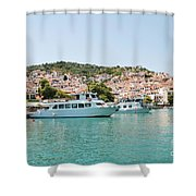 Skopelos Harbour Greece Shower Curtain
