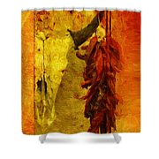 Skull And Peppers Shower Curtain