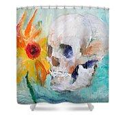 Skull And Sunflower Shower Curtain