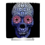 Skull Art - Day Of The Dead 1 Stone Rock'd Shower Curtain