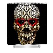Skull Art - Day Of The Dead 3 Stone Rock'd Shower Curtain