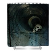 Skull In Drainpipe Shower Curtain