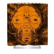 Skull In Negative Orange Shower Curtain