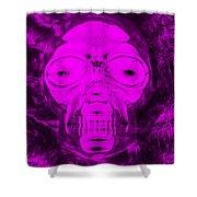 Skull In Negative Purple Shower Curtain