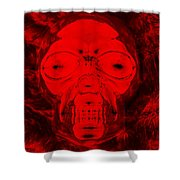 Skull In Negative Red Shower Curtain