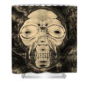 Skull In Negative Sepia Shower Curtain