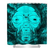 Skull In Negative Turquois Shower Curtain