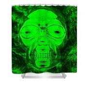 Skull In Radioactive Negative Green Shower Curtain