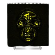 Skull In Yellow Shower Curtain