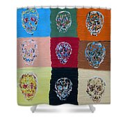 Skull Pop Nine Shower Curtain
