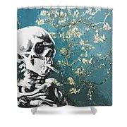 Skull With Burning Cigarette On Cherry Blossom Shower Curtain