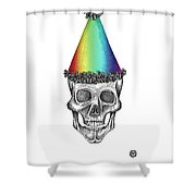 Skull With Rainbow Hat Shower Curtain