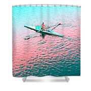 Skulling Boat At Sunset Shower Curtain