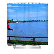 Sky Blue Calm Waters Fisherman On The Pier  Lachine Canal Montreal Summer Scenes Carole Spandau Shower Curtain