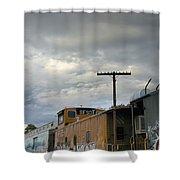 Sky Clouds And Graffiti Old Santa Fe Railyard Shower Curtain