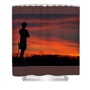 Sky Fire - Aotp 124th Ny Infantry Orange Blossoms-2a Sickles Ave Devils Den Sunset Autumn Gettysburg Shower Curtain by Michael Mazaika