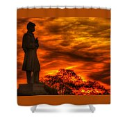Sky Fire - West Virginia At Gettysburg - 7th Wv Volunteer Infantry Vigilance On East Cemetery Hill Shower Curtain by Michael Mazaika
