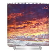 Sky On Fire Shower Curtain by Les Cunliffe