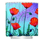 Sky Poppies Shower Curtain