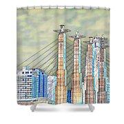 Sky Stations Pylon Caps - Downtown Kansas City Missouri Shower Curtain
