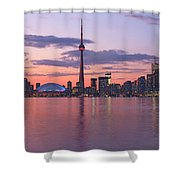 Skyline At Dusk From Centre Island Shower Curtain