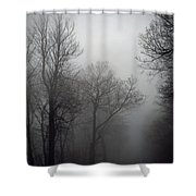 Skyline Drive In Fog Shower Curtain