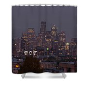 Skylines At Dusk, Seattle, King County Shower Curtain