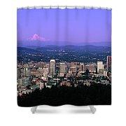 Skylines In A City With Mt Hood Shower Curtain